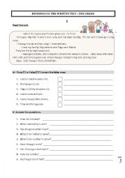 English Worksheet: Revisions fo the test 5th grade