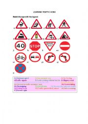 English Worksheet: Learning Traffic signs