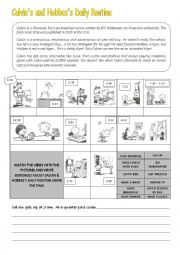 Calvin´s and Hobbes´s routine worksheet