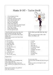 English Worksheet: Shake It Off � Taylor Swift