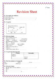 English Worksheet: revision worksheet for 6th form