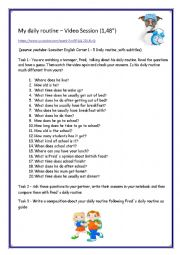 English Worksheet: My daily routine - VIDEO SESSION ( 1,48