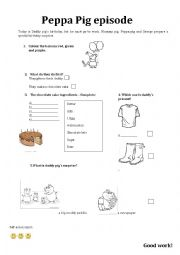 english worksheets daddy pig s birthday. Black Bedroom Furniture Sets. Home Design Ideas