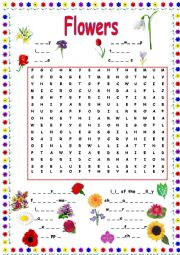 English Worksheet: FLOWER WORDSEARCH