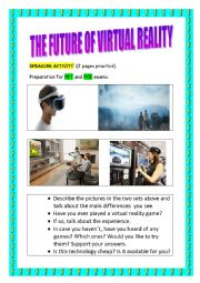 English Worksheet: Let�s talk about Virtual Reality