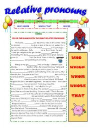 english worksheets relative pronouns who which whose whom that. Black Bedroom Furniture Sets. Home Design Ideas