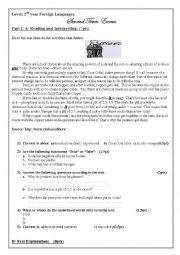 English Worksheet: coca cola exam