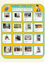 English Worksheet: Where�s the Cat? 4