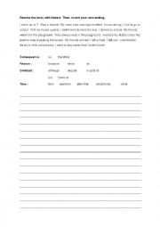 English Worksheet: Rewrite a story using linkers (for kids and teens)