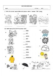 English Worksheet: WEATHER VOCABULARY