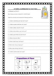 English Worksheet: LISTENING . Is there a supermarket near your house?