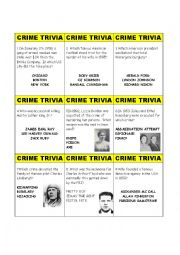 English Worksheet: Crime Trivia Card Game