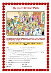 English Worksheet: My Crazy Birthday Party
