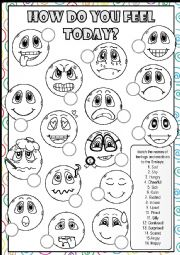 English Worksheet: Feelings and Emotions - MATCHING