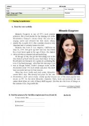 Songs and films (topic) - 8th Grade test