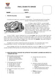 English Worksheet: FINAL EXAM 5TH GRADE ROW B