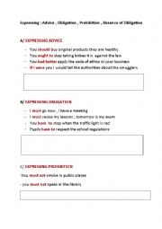 English Worksheet: expressing advice  obligation and prohibition