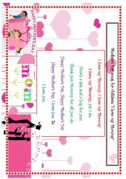 I love my Mommy song for Mother´s Day for children