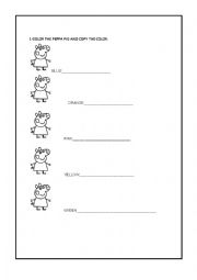 english worksheets peppa pig colors. Black Bedroom Furniture Sets. Home Design Ideas
