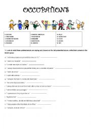 English Worksheet: OCCUPATIONS GUESSING GAME