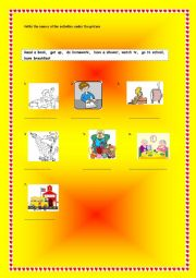 English Worksheet: daily routine actions