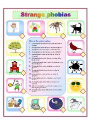 English Worksheet: Strange phobias