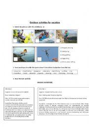 English Worksheet: outdoor activities