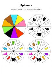 English Worksheet: Spinner - numbers, colours