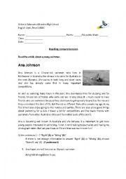 English Worksheet: sport reading comprehension