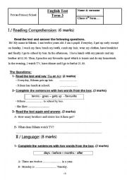 English Worksheet: English 6th form Test Term 3 Tunisian Curriculum