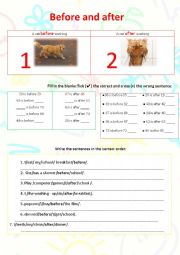 English Worksheet: Before and after worksheet