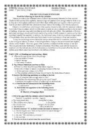 English Worksheet: exam about water