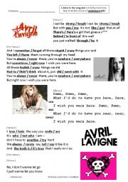 English Worksheet: Wish You Were Here - Goodbye Lullaby by Avril Lavigne
