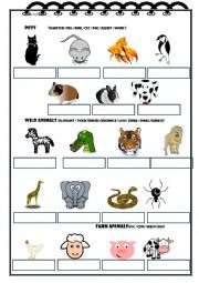 English Worksheet: Pets / Wild animals / Farm animals