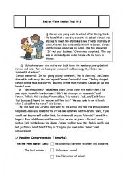 English Worksheet: 9th form full term test 1