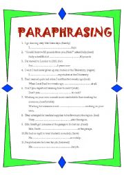 English Worksheet: Paraphrasing Pre FCE