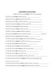 English Worksheet: british american english