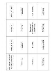 English Worksheet: Memory game with phrasal verbs