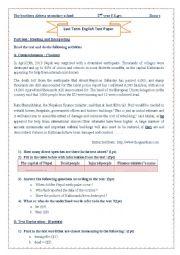 English Worksheet: nepal earthquake exam