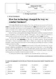 English Worksheet: Test 11th grade - Business World