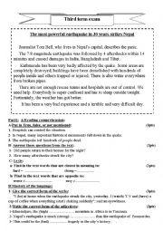 English Worksheet: nepal earthquake