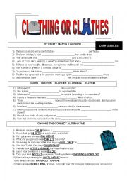 English worksheet: CLOTHING OR CLOTHES? + KEW INCLUDED