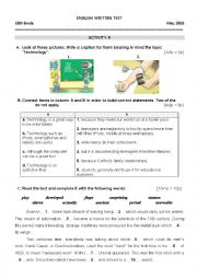 English Worksheet: Test 10th grade Robots and disabled people