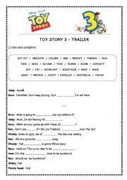 English Worksheet: TOY STORY 3 (TRAILER)
