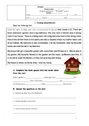 English Worksheet: 7th grade test - The House