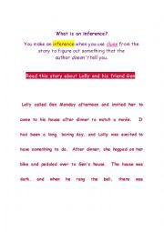 English Worksheet: What is an inference?