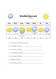 English Worksheet: Weather Forecast