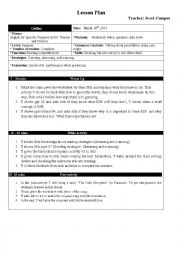 English Worksheet: Lesson Plan - English for specific Purposes