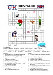 English Worksheet: GREAT BRITAIN Crossword