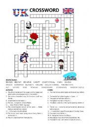 English worksheet: GREAT BRITAIN Crossword